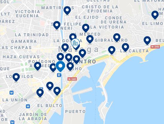 Map  Best Cheap Hotels in Malaga