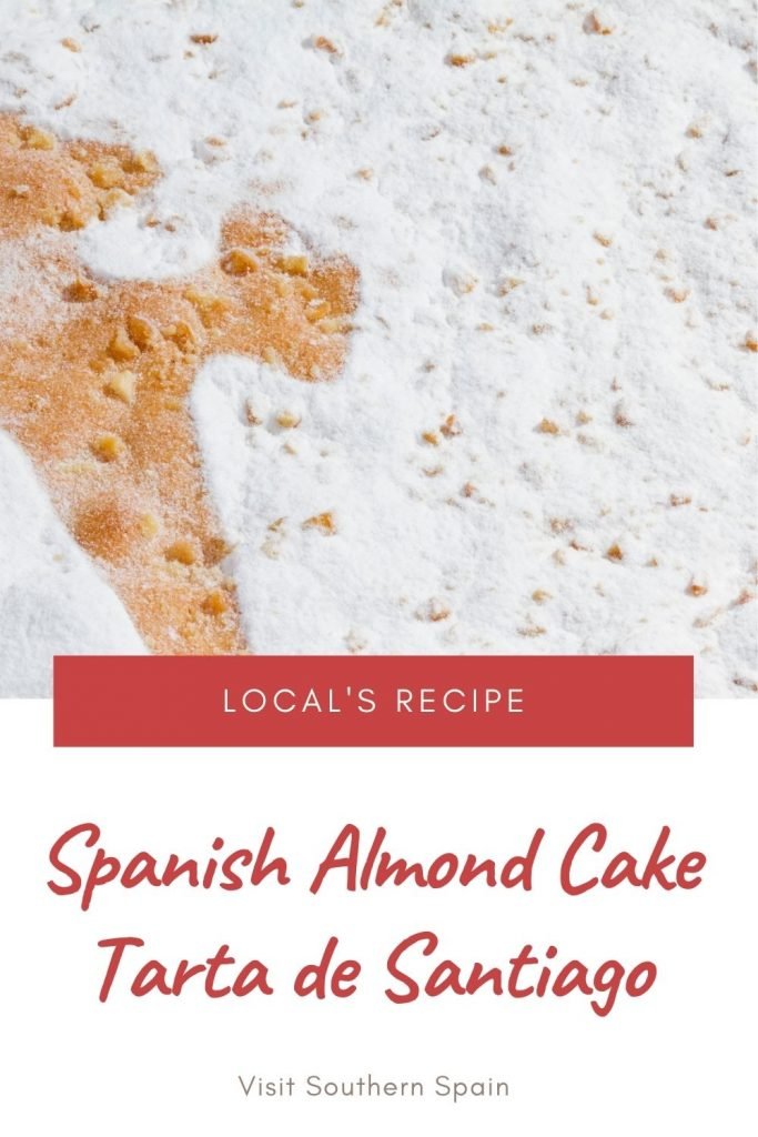 Are you looking for a Spanish almond cake recipe? Also, know as Tarta de Santiago, this almond cake is a simple Spanish dessert that is baked on Santiago Apostol's day. This popular Spanish dessert can also be found all over Spain in supermarkets. You can now bake the almond flour cake with our Spanish almond cake recipe and see for yourself how delicious this Spanish dessert is. A cup of coffee next to it and you are in for a treat! #spanishcake #tartadesantiago #almondcake #spanishdessert