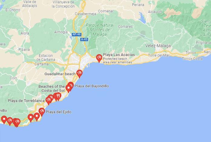 map best beaches near malaga