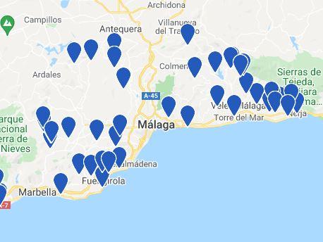 map best holiday villas in malaga